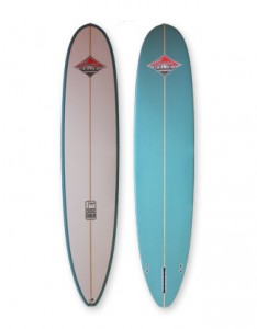 4567 Model longboard, an allrounder surfboard with 2+1 fin setup.