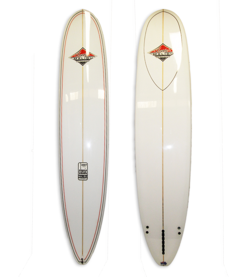 4567 Model Longboard Allrounder # 8652. White polish finish with 2+1 fin setup.