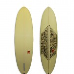 Camel Model Funboard #8671. A modern single fin egg with fabric inlay and spray.