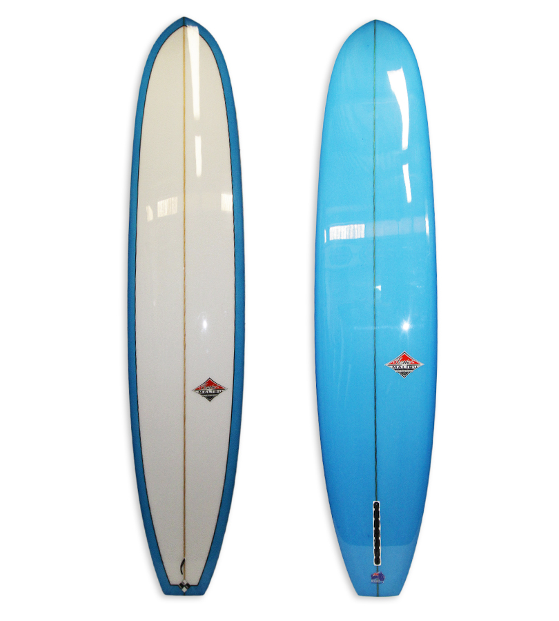 Lightweight Model Longboard #8592. Single fin log with 50/50 rails, blue resing tints on bottom of board.