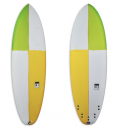 Slab / Buoyant short board with quad or thruster fin set-up & resin tints