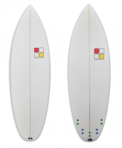 Turtle Shortboard Kids Model white foam spray with coloured plugs