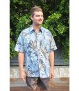 Hawaii navy palm frond Collared Shirt