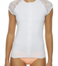 Ladies Short Sleeve Zip Rash Shirt White