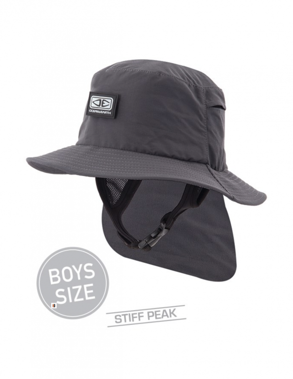 Boys Indo Stiff Peak Surf Hat – Black
