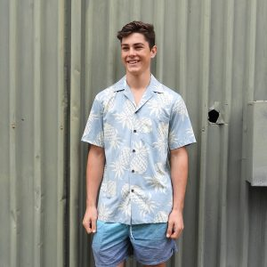 Blue Hawaiian Shirt 103C Light Blue Pineapples