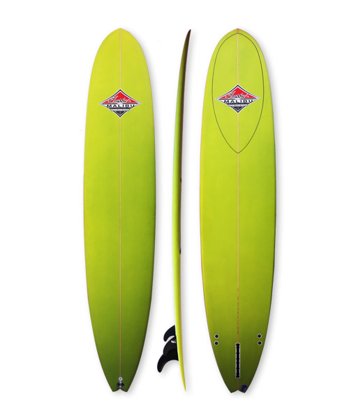 Performance Lonngboard Classic Malibu Surfboards Noosa. Green Spray, fish tail with pinlines and 2+1 fin set-up