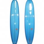 Lightweight Longboard Log #8701. Single fin with blue resin tints.