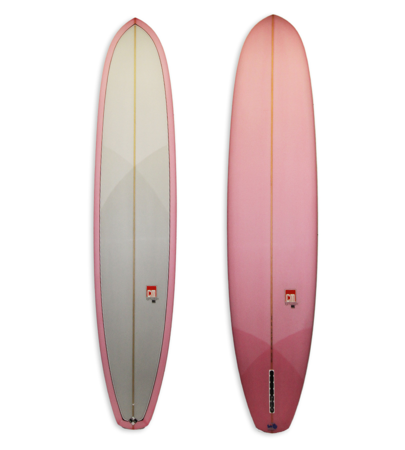 Lightweight Log Model Longboard #8655. Single fin log with 50'50 rails and pink resin tints.