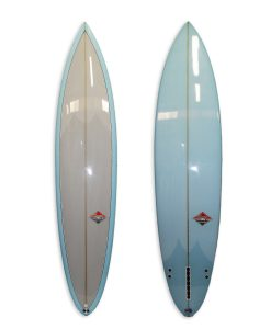 Semi Gun surfboard with resin tints blue bottom and grey deck. 2+1 fin setup rounded pin polish finish.