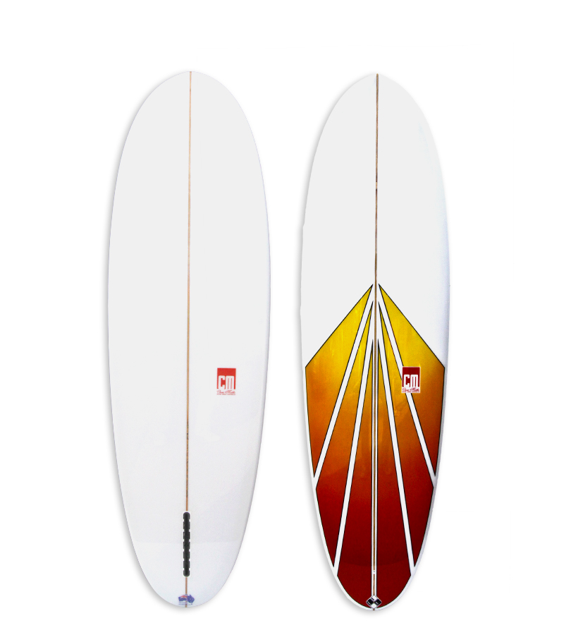 Sunn Side Up Model single fin fun board with red & yellow spray on deck.