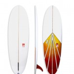 Sunny Side Up Model Egg with red & yellow spray. Single fin fun board with volume.