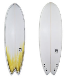 Wider round nose swallow tail fish with yellow deck spray and quad | Classic