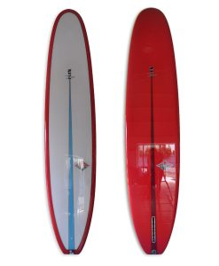 Pink V-flex longboard log single fin with polish