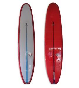 Pink V-flex longboard log single fin with polish