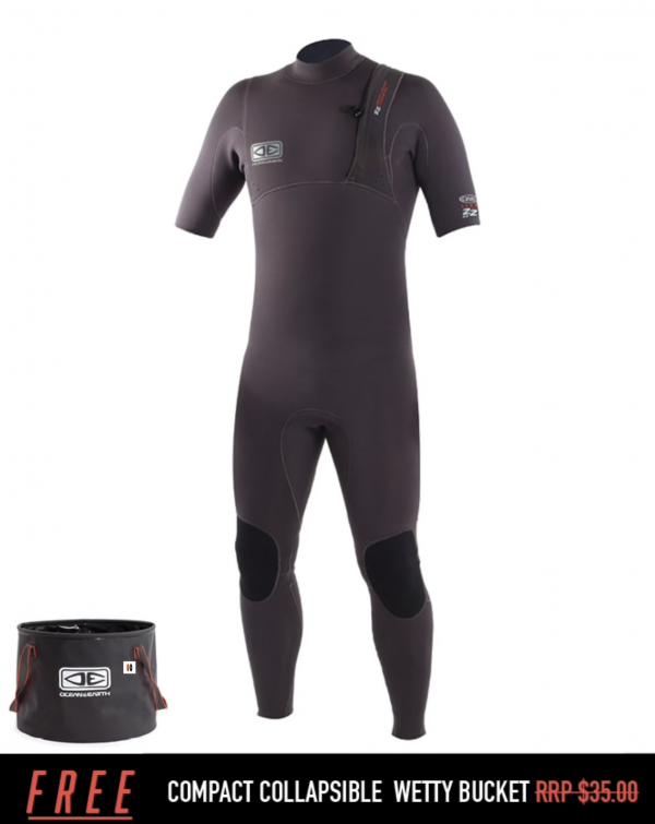 Wetsuit Ocean & Earth Mens Zero Zip Short Arm Steamer - 2/2mm